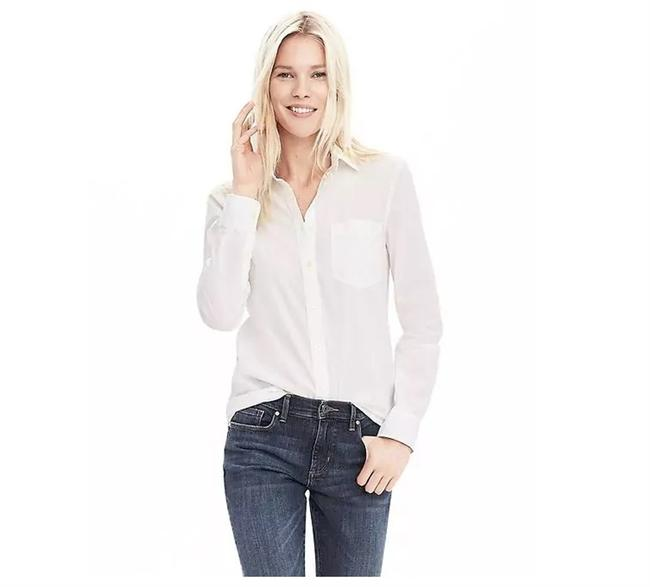Item - White Long Sleeve Seersucker New Classic-shirt Button-down Top Size 8 (M)