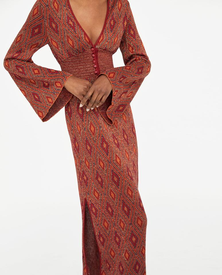 7244a157 orange Maxi Dress by Zara Buttoned Metallic Knit Red Brown Image 9.  12345678910