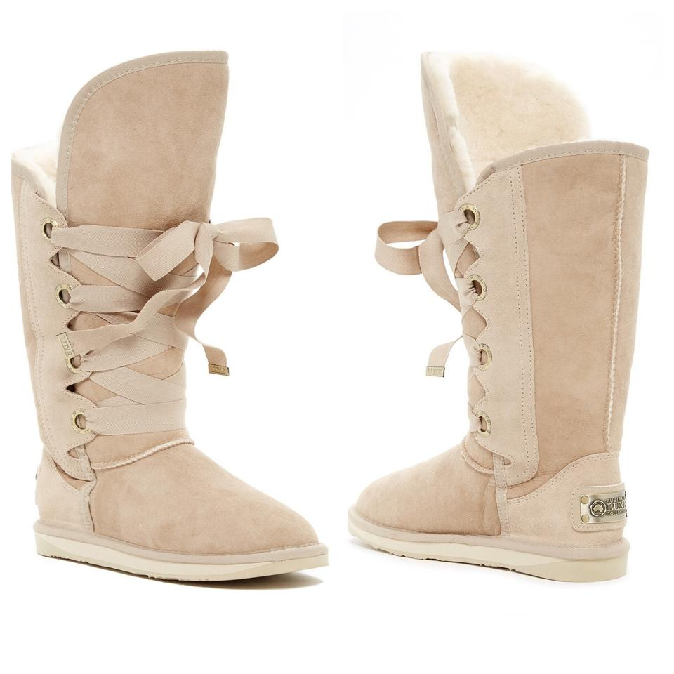 49438950bccc Australia Luxe Collective Beige Bedouin Tall Lace-up Genuine Shearling Boots  Booties