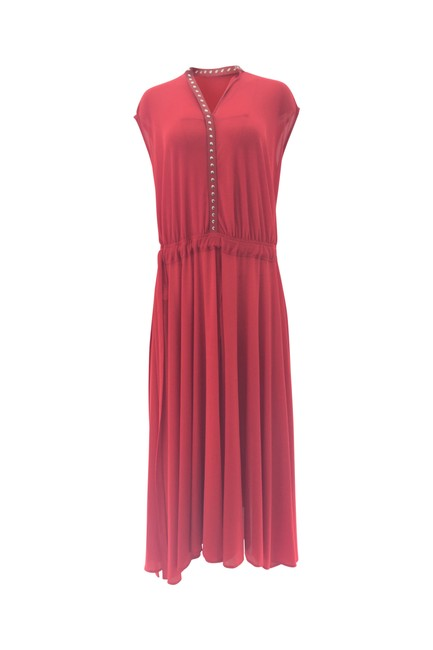 Item - Red Jersey Matte Studded Midi Mid-length Casual Maxi Dress Size 4 (S)