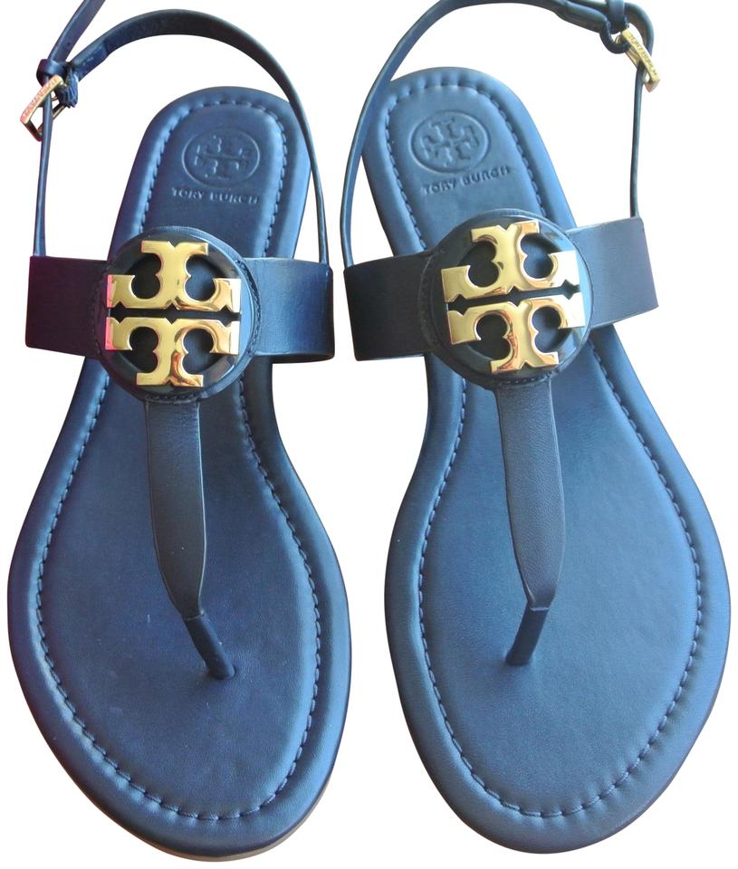 7aad92682d3 Tory Burch Blue Bright Navy Gold Bryce Flat Sandals Size US 9 ...