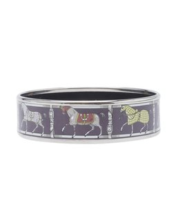 Hermès Hermes Purple Enamel Silver-tone Bangle Bracelet (149783)