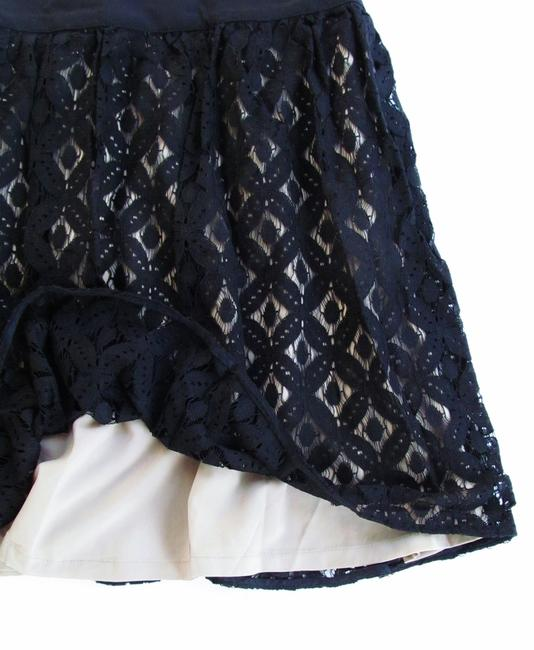 Garnet Hill Lace Short Pleated New Without Tags Full Mini Skirt Black, Tan Image 1