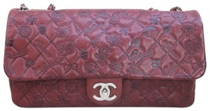 dd31cb77435e Chanel Classic Flap Embossed Lucky Charms Burgundy Calfskin Shoulder ...