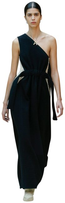 Item - Black Wool Cream Crochet Inset Sides Runway Gown Long Casual Maxi Dress Size 10 (M)