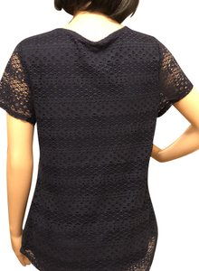 Leo & Nicole Double Layer Dark Navy Lacy Feminine Sleeved T Shirt Admiral Navy--New With Tags
