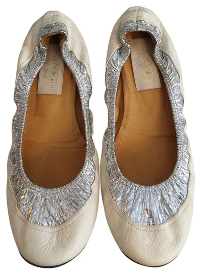 Lanvin White And Silver Flats