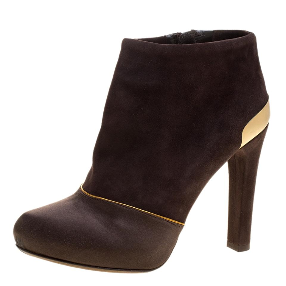 Fendi Brown Suede and Ankle Satin Ankle and Boots/Booties 2a448a