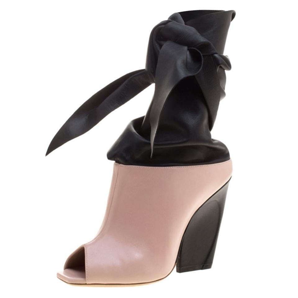 91d71554bd4fa0 Dior Pink Blush and Black Leather Brooklyn Ankle Wrap Peep Toe Ankle ...