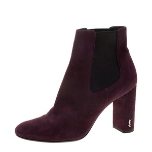 Saint Laurent Suede Ankle Leather Burgundy Boots