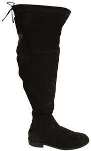 Ted&Muffy Suede Leather Thigh High Flat New Black Boots
