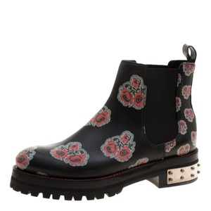 Alexander McQueen Floral Leather Black Boots