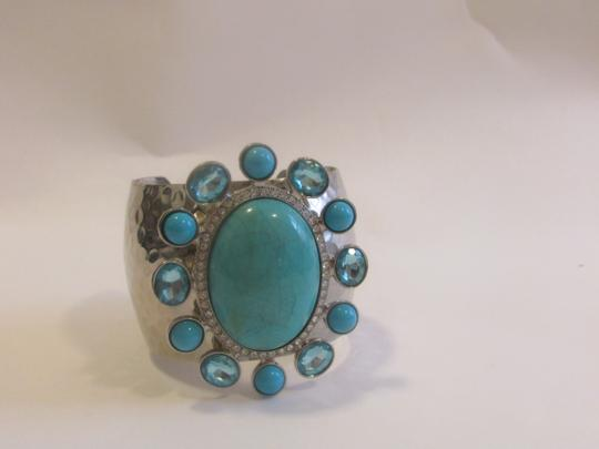 DG2 by Diane Gilman DG2 By Diane Gilman Big & Bold Hammered Faux Turquoise/Blue Topaz Adjustable Cuff Bracelet Size 7.5
