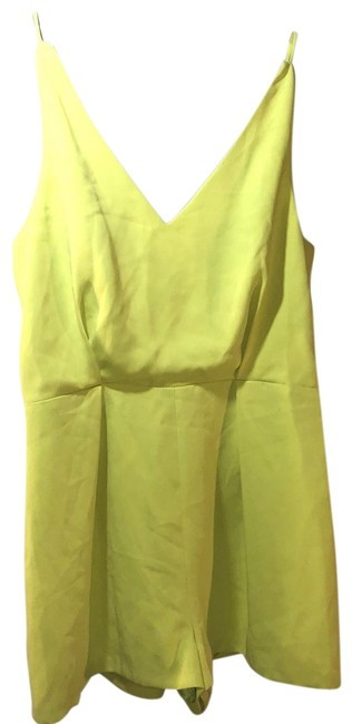 Topshop Chartreuse New With Tags Lace Back Romperjumpsuit Tradesy