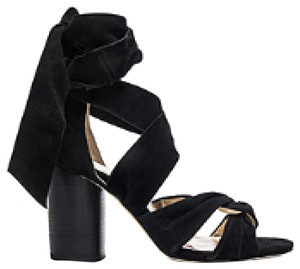 RAYE Heel Tie Black Suede Sandals