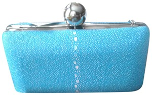 MILLY Very Unique Clasp Silver Dome Color Stunning Bluegreen Clutch