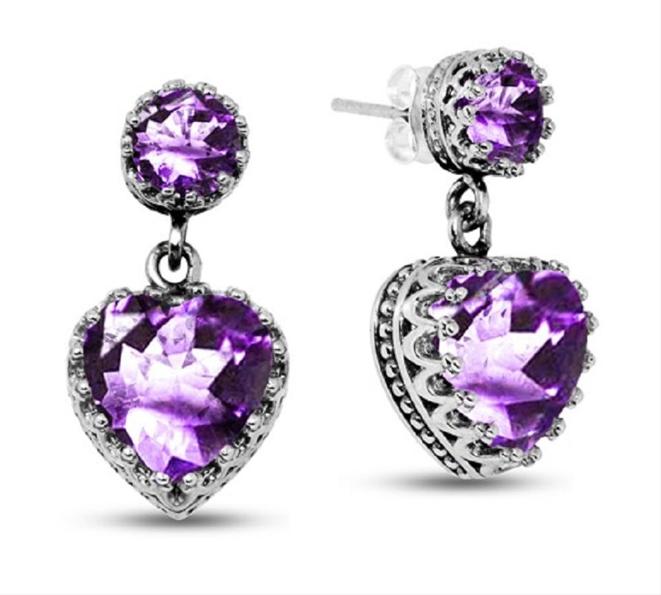 Les Of Gold African Amethyst Studs With Heart Dangle Earrings