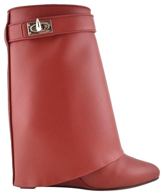 Item - Red Leather Shark Tooth Lock Foldover Wedge Heel Boots/Booties Size EU 36.5 (Approx. US 6.5) Regular (M, B)