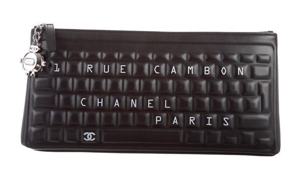 b36abab4d3a Chanel Box 2017 Keyboard Pouch Lambskin Rare Black Leather Clutch ...