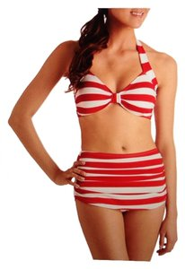 Esther Williams Snackbar Beauty Two Piece Swimsuit In Red & White