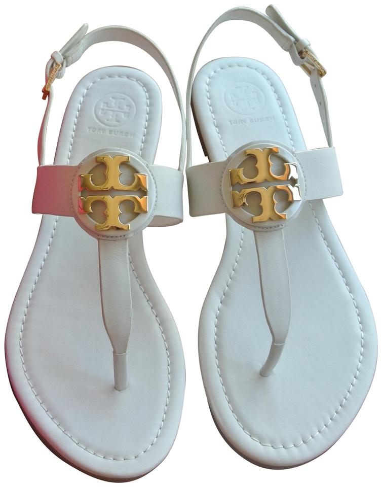 1e7ae8eeb Tory Burch White Flash-sale New Ivory Gold Bryce Flat Sandals Size ...