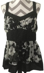 Mixit And Floral Sleeveless Tieback Top Black & White
