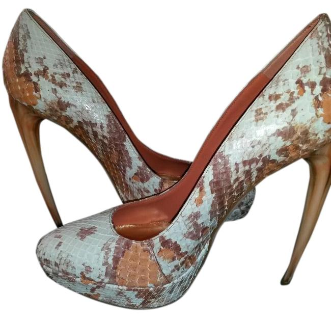Item - Multi Coral Scarpa Pelle S. Cuoio Froth Python Pumps Size EU 38 (Approx. US 8) Wide (C, D)