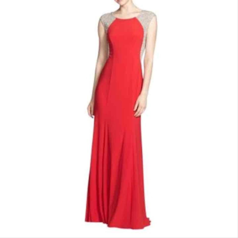 Xscape Red Cap Sleeve Jewel Prom Evening Gown Long Formal Dress Size ...