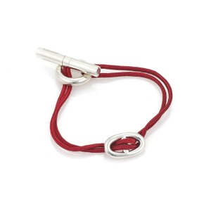 20d360bc7eae Hermès Chaine d Ancre Sterling Silver H Charm Red Cord Bracelet