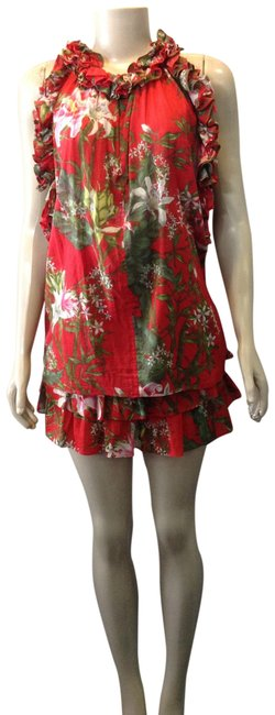 Item - Red Garden Print 2 Pc Short Casual Dress Size 6 (S)