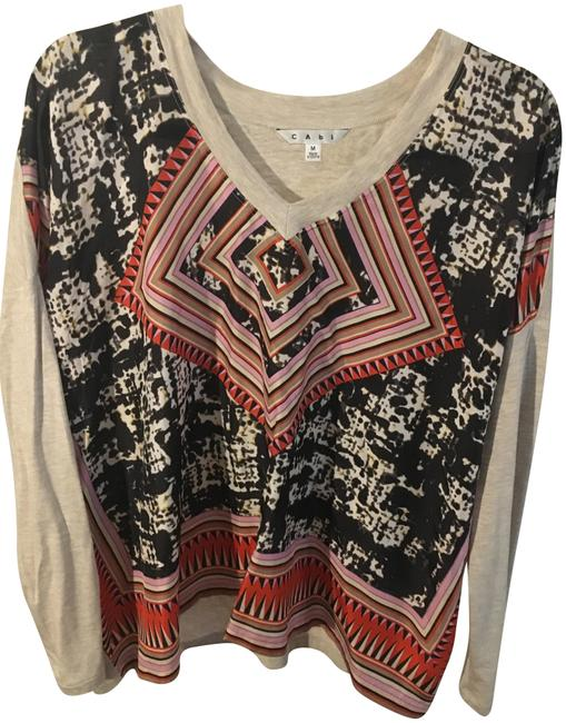Preload https://img-static.tradesy.com/item/23715777/cabi-red-blue-beige-spring-2014-lovely-day-scarf-tee-shirt-size-8-m-0-1-650-650.jpg