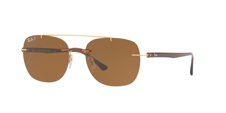 71b0b2f3b6df Ray-Ban Brown New 4280 Lightray Polarized Rimless Wired Square Sunglasses
