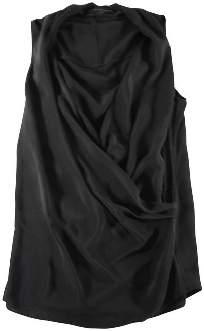 Item - Black Sleeveless Draped Plunging Neckline Blouse Size 4 (S)