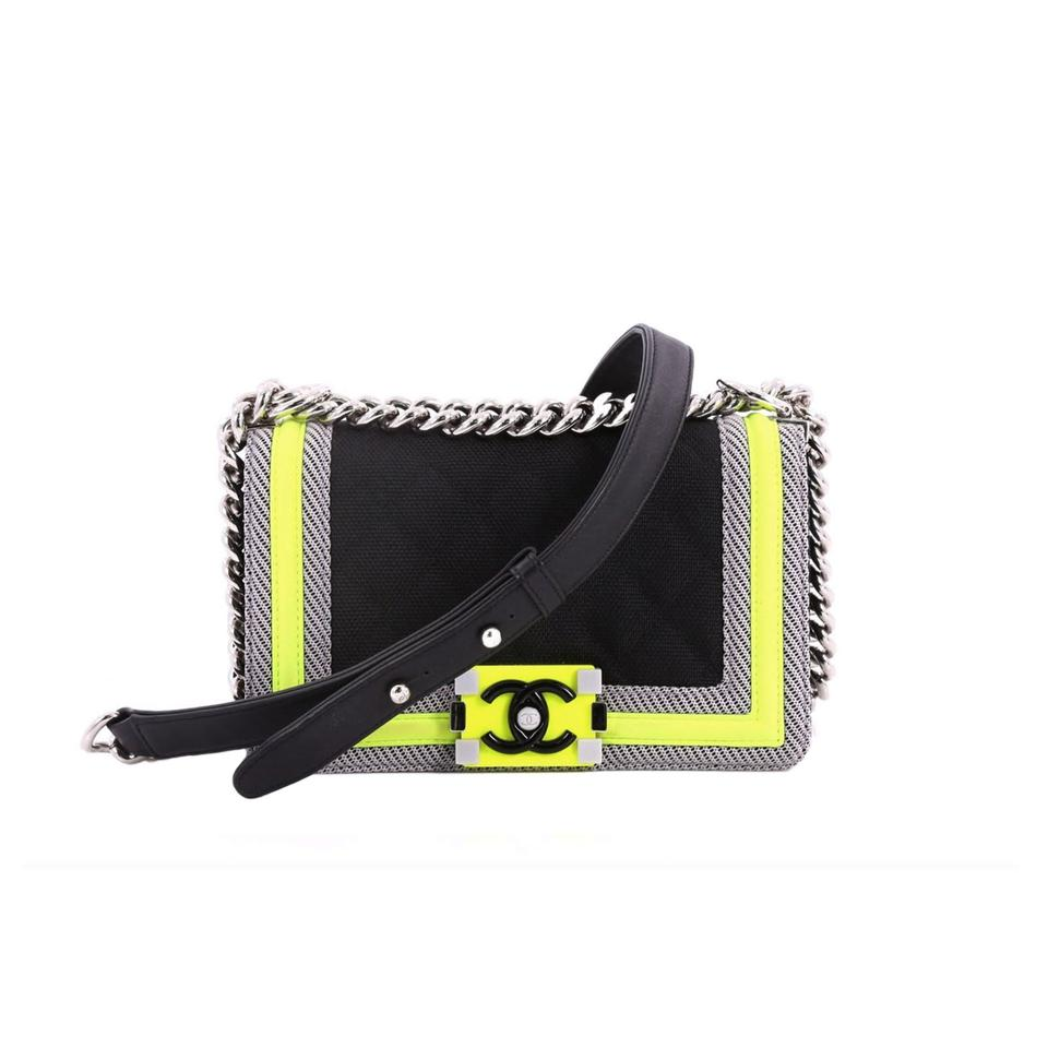 4b98a7970129 Chanel Boy Fluo Rare Limited Edition Small Sport Black + Green Nylon ...