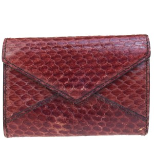Cartier CARTIER Logos Bifold Pass Card Case Python Leather Bordeaux