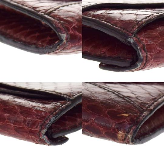 Cartier CARTIER Logos Bifold Pass Card Case Python Leather Bordeaux Image 5