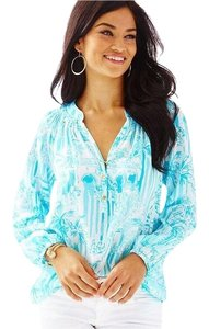 Lilly Pulitzer Top turquoise and white print