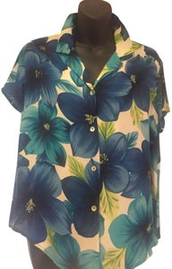 City Silk Button Down Shirt Blue Floral