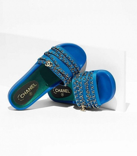 Chanel Blue Mules Image 4