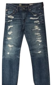 AG Adriano Goldschmied Straight Leg Jeans-Distressed