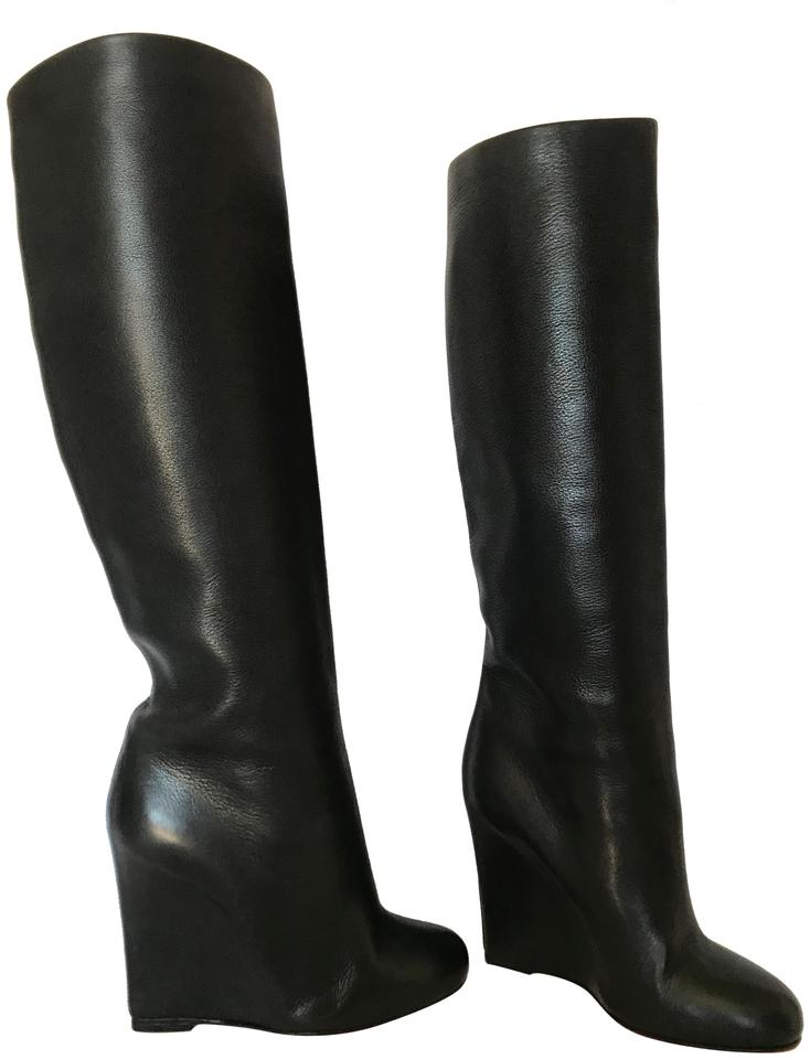 512ae4a78110 Christian Louboutin Black 37.5it Knee High Lady Red Sole Ankle Alti Toe 100 Wedge  Heel Boots Booties