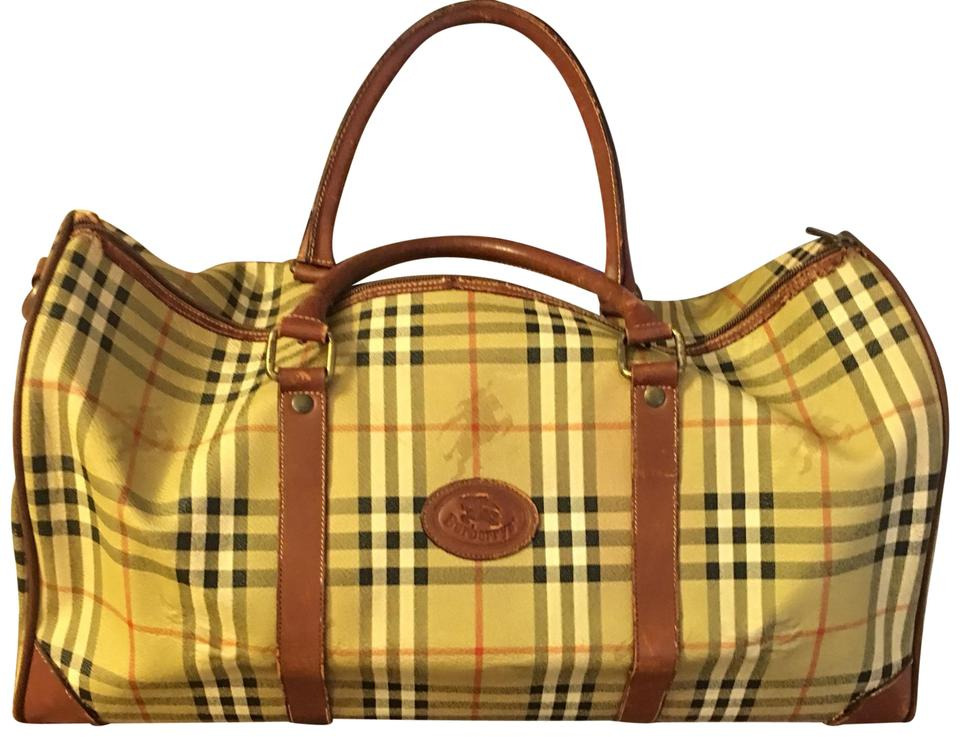 91d3e7adfbe1 Burberry Haymarket Leather and Canvas Weekend Travel Bag - Tradesy