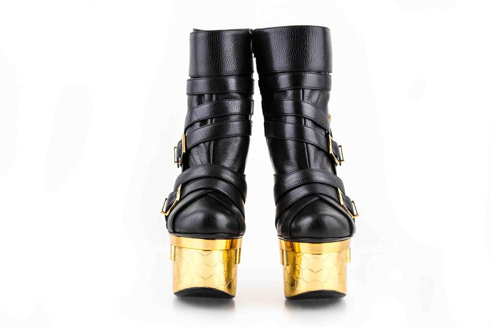 46958dfd Versace Black Bondage Triple Leather Ankle Boots Platforms Size US 8  Regular (M, B) 24% off retail