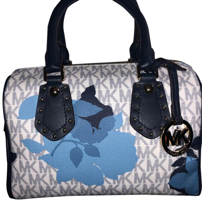 Item - Monogram White with Blue Flowers and Blue Mk with Gold Studs Leather Cross Body Bag