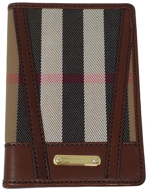 Item - Brown Beige Gold Multicolor House Check Canvas Passport Cover Wallet