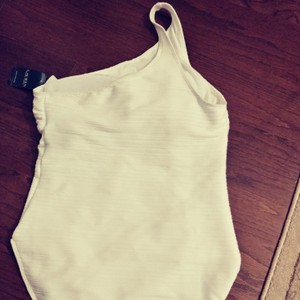 Lauren Ralph Lauren White one shoulder swimsuit. New with tags. Size 14