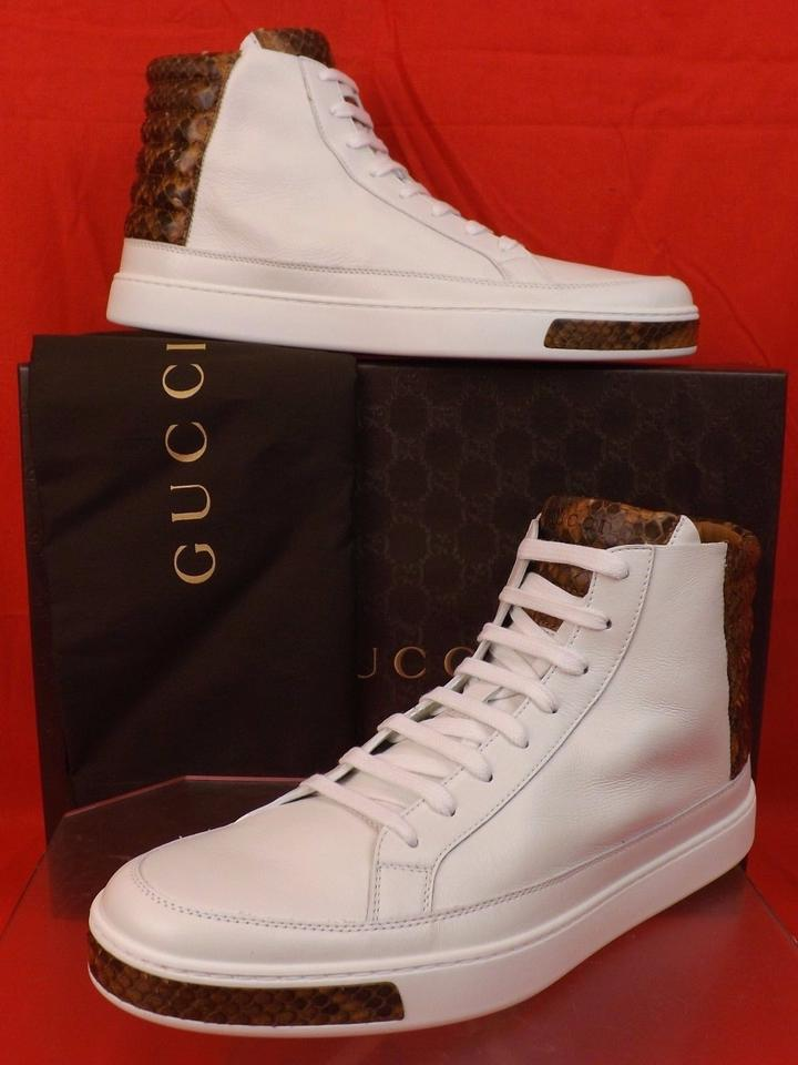 139597585 Gucci White Mens Leather Python Details Limited Hi Top Sneakers 9 Us 10  Shoes