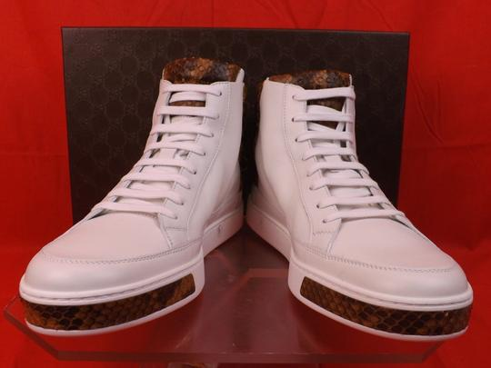 Gucci White Mens Leather Python Details Limited Hi Top Sneakers 9 Us 10 Shoes Image 1