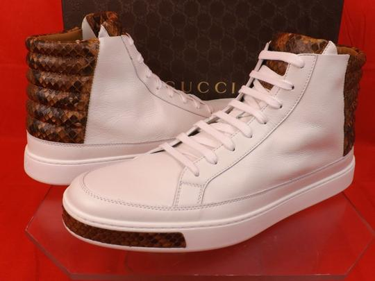 Gucci White Mens Leather Python Details Limited Hi Top Sneakers 9 Us 10 Shoes Image 3