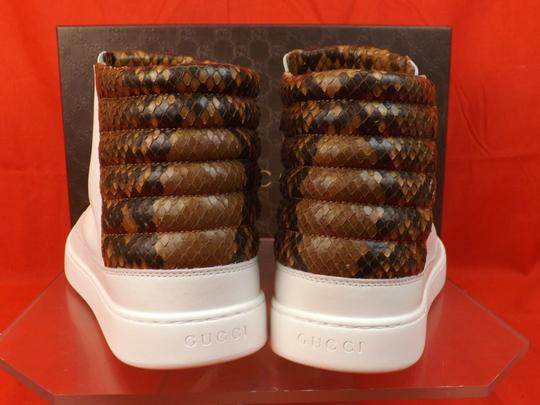 Gucci White Mens Leather Python Details Limited Hi Top Sneakers 9 Us 10 Shoes Image 4